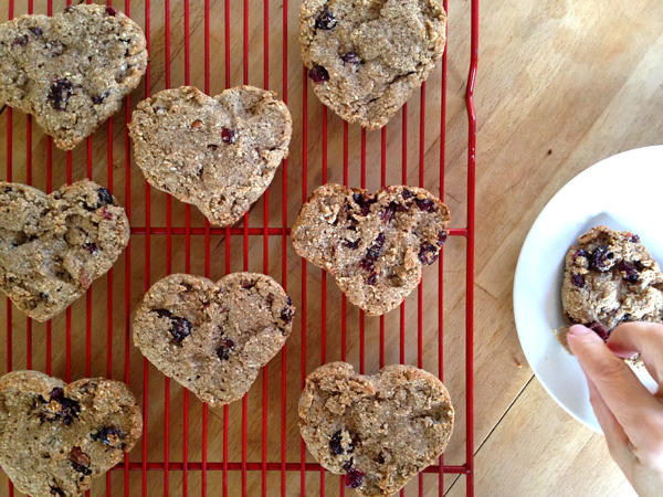 valentines heart shaped cranberry and pecan scones