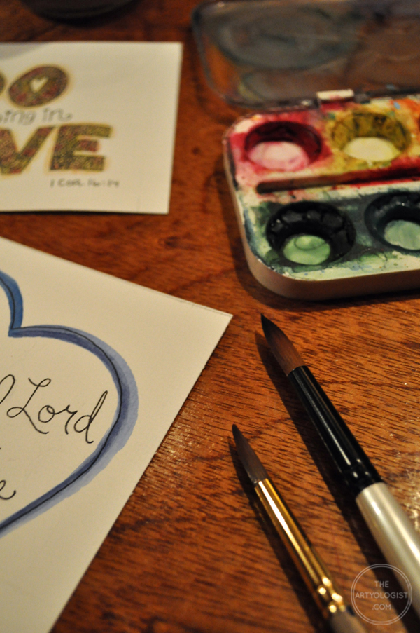the artyolgist- image of in progress watercolour and hand lettered valentines cards