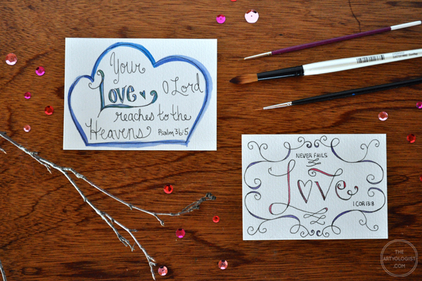 the artyologist- image of hand lettered bible verses cards