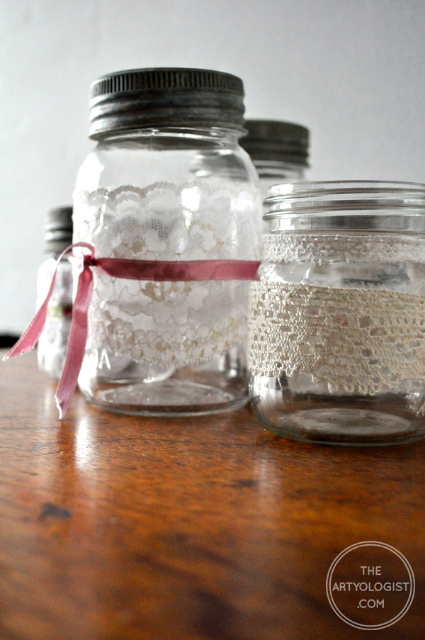 the artyologist- image of mason jar candleholders with lace and ribbon for valentine's tea party