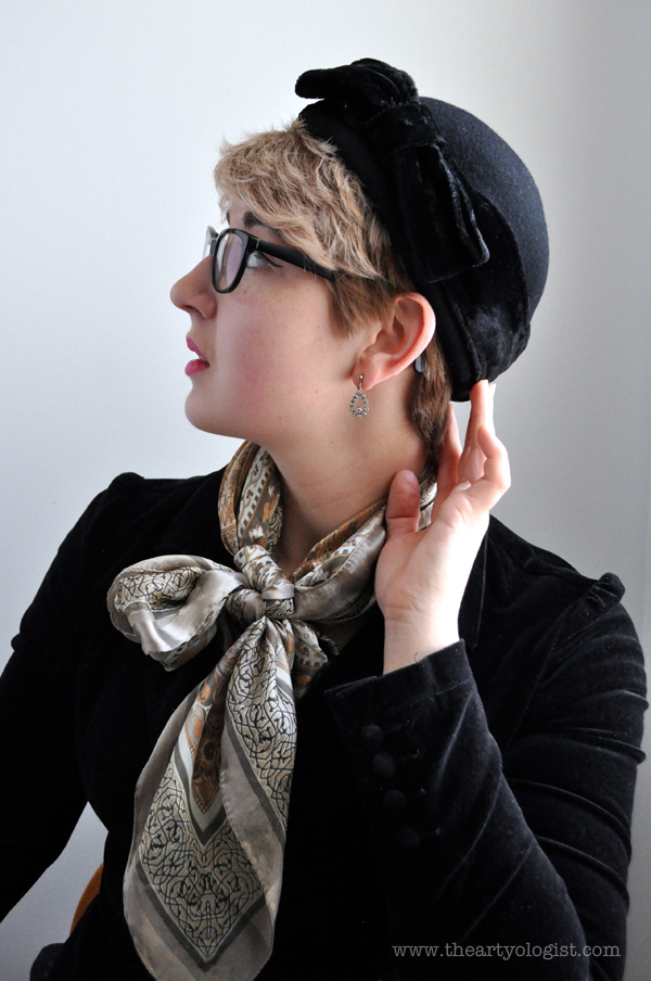 the artyologist image of vintage wool hat with velvet bow
