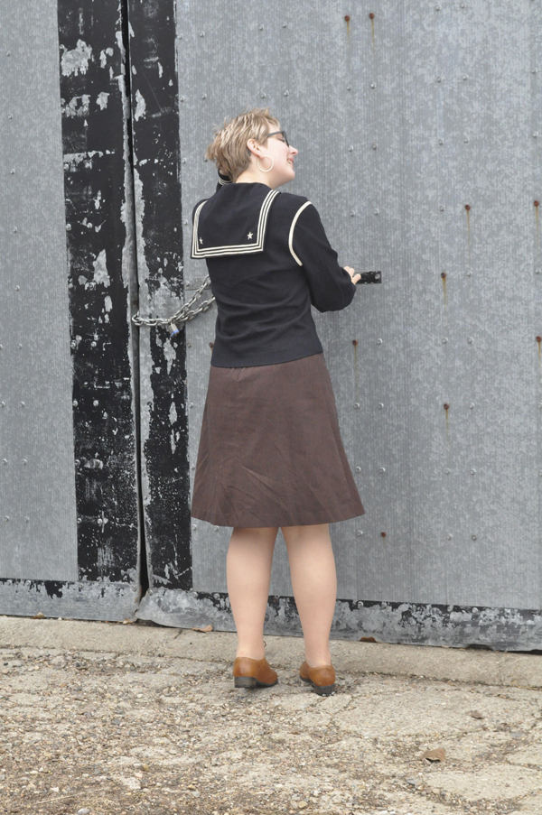 the artyologist- image of vintage outfit with brown twill skirt, leather clarks oxford shoes and WWII sailor's US uniform