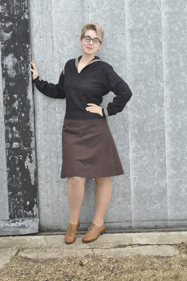 the artyologist- image of vintage outfit with WWII sailor's middie US uniform