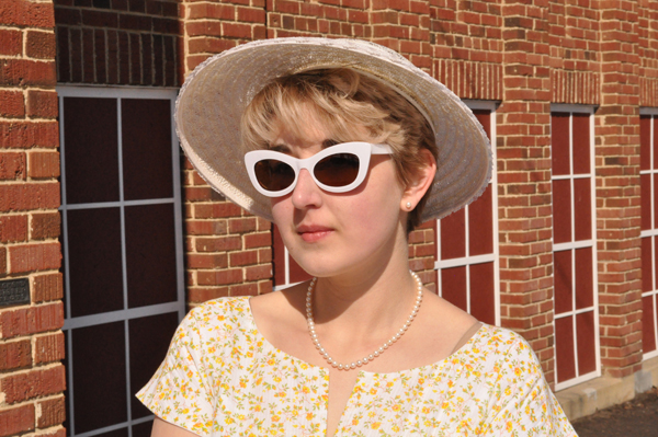 the artyologist image of vintage 1950's easter bonnet with white sunglasses and pearls