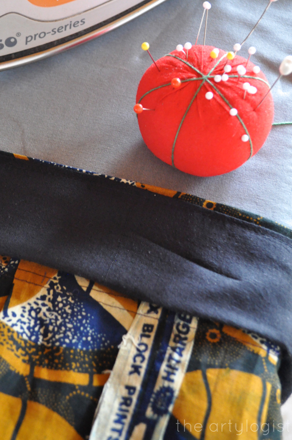 the artyologist- image of african style fabric out of chinese wax fabric and pin cushion
