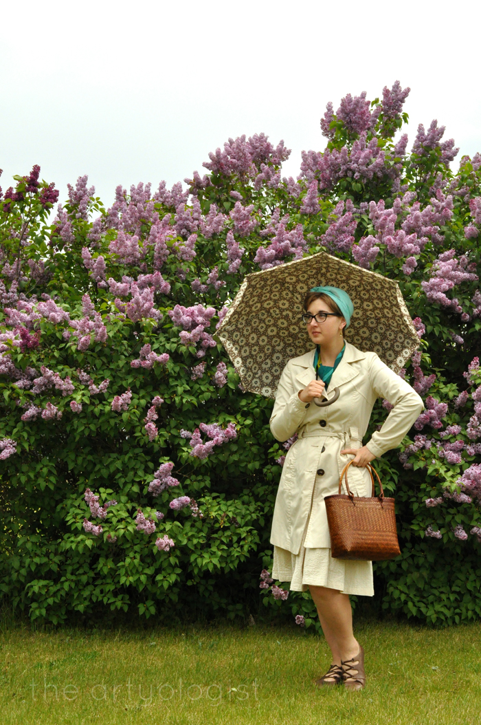 image of trenchcoat lilacs and umbrella the artyologist