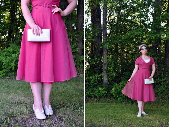 image of 1950's vintage pink dress the artyologist