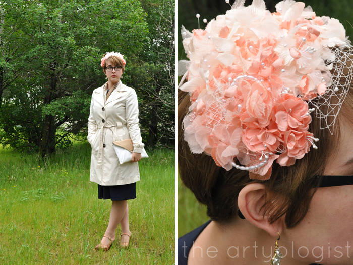 image of trench coat and flower covered hat the artyologist
