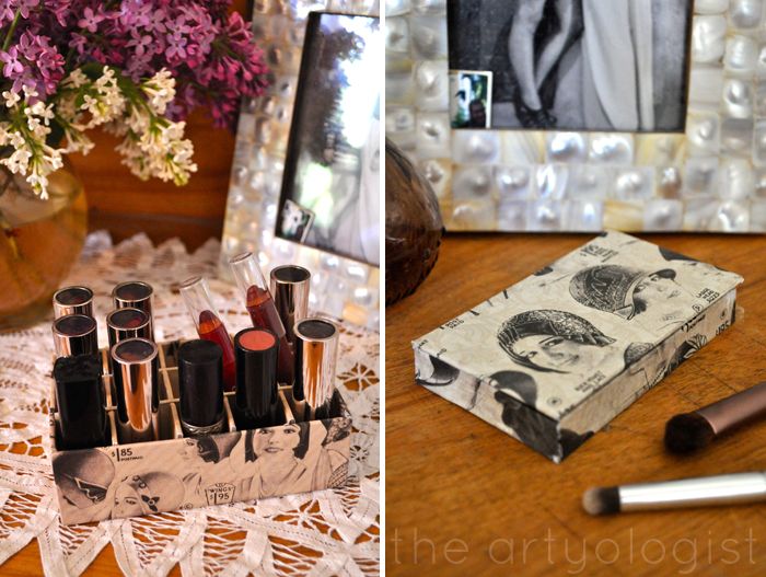 image of makeup organizers lipstick holder and eyeshadow palette the artyologist