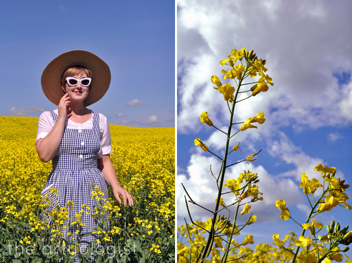 canola and navy gingham pinafore the artyologist