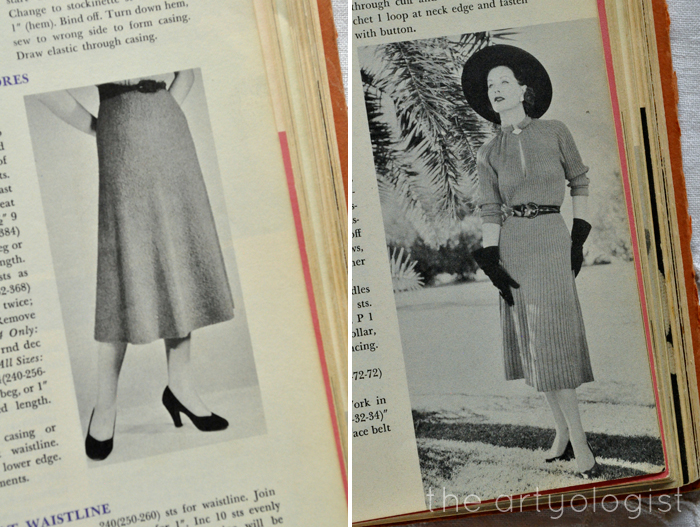 knitted skirt and dress from McCall's Treasure of Needlecraft the artyologist