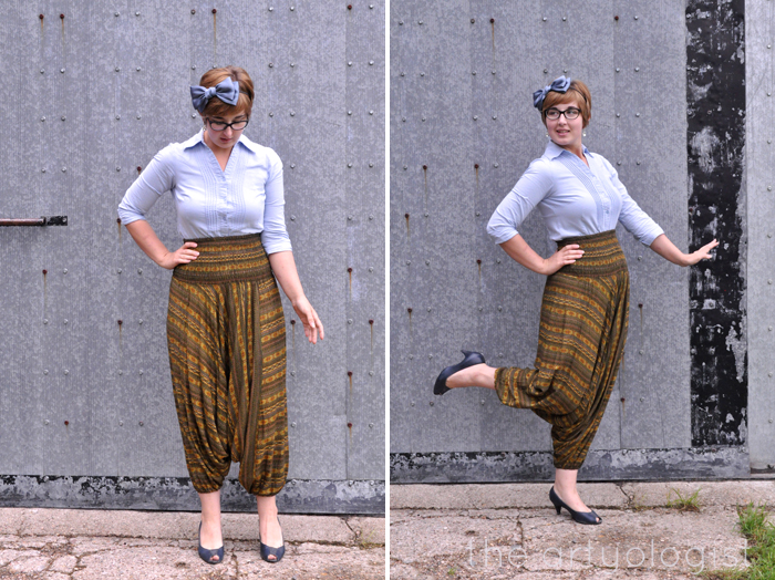 harem pants styled with a button up shirt the artyologist