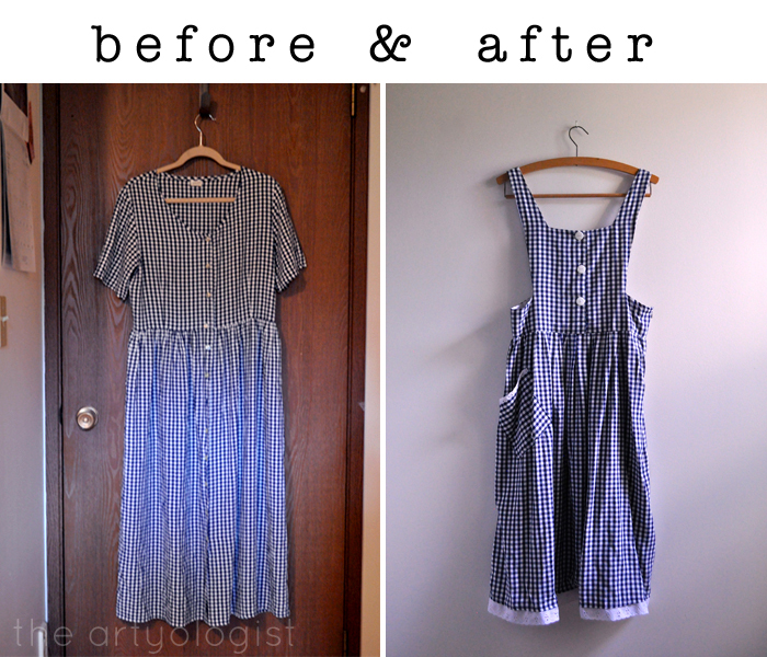 gingham refashioned pinafore before and after the artyologist