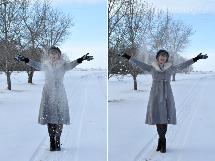 White Wonderland, christmas outfit, Throwing snow, the artyologist