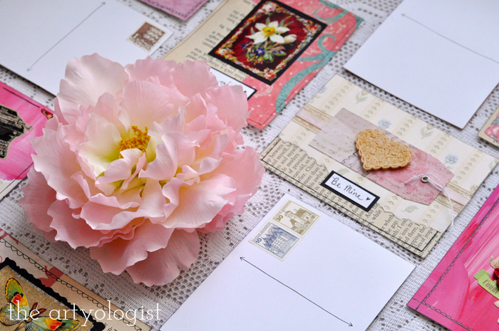 the artyologist, peony and valentine's postcards
