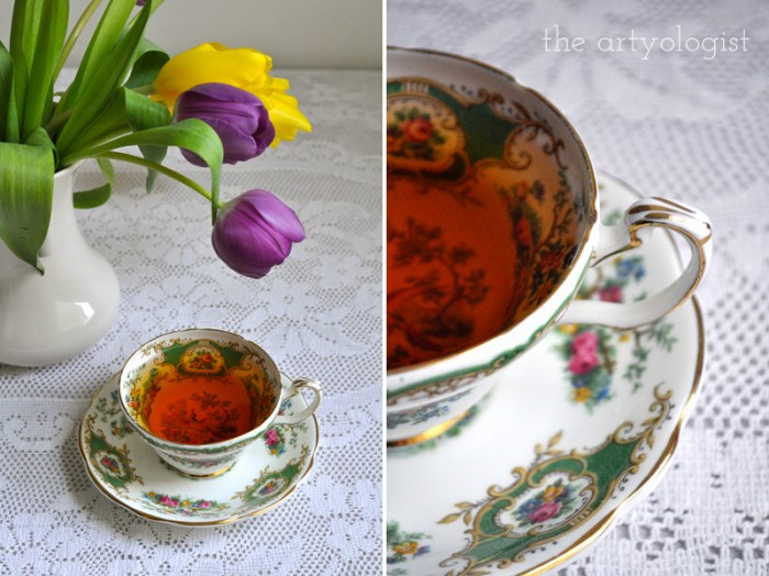 Tea and Tulips on a February Day, the artyologist, teacup and vase