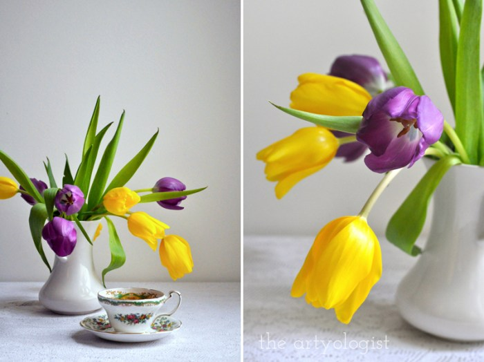 Tea and Tulips on a February Day, the artyologist, vase and teacup