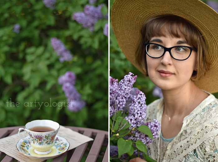 Lilacs and Love letters, the artyologist, tea and portrait