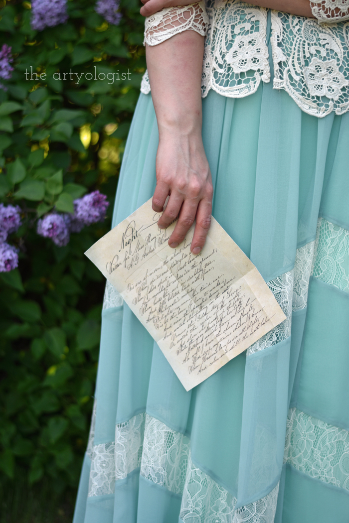Lilacs and Love letters, the artyologist, letter-in-hand