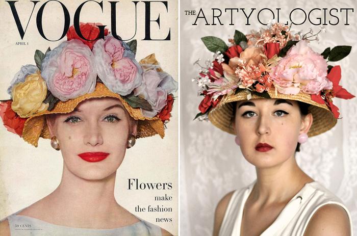 spring-bonnet-vogue-recreation-2, the artyologist, my vintage cover challenge