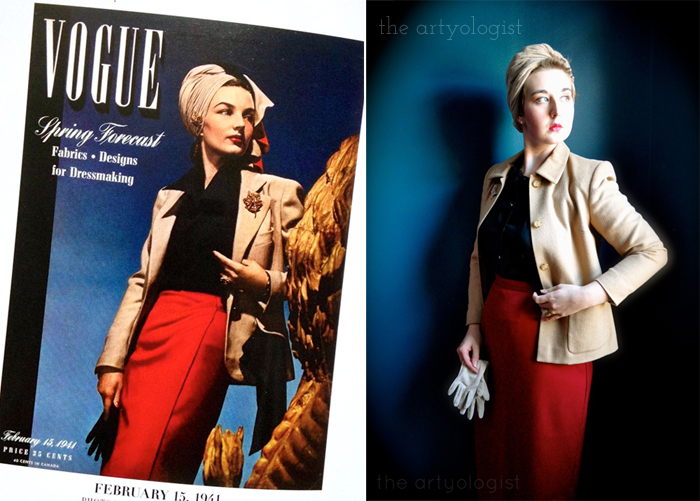 vogue-covers,-red-skirt,-turban-and-camel-coat, my vintage cover challenge