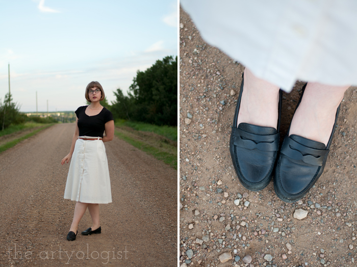 Crossing Over to the Solid Separates Side, the artyologist, cream coloured skirt and penny loafers