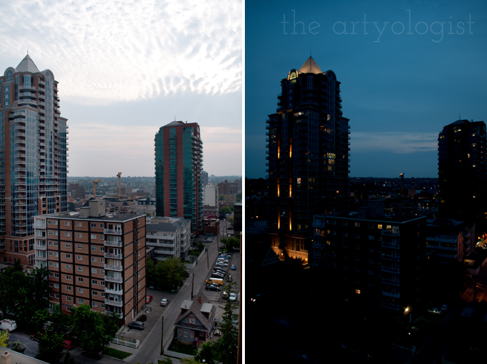 A Flying Trip to Calgary, the artyologist, house across the street, calgary skyline