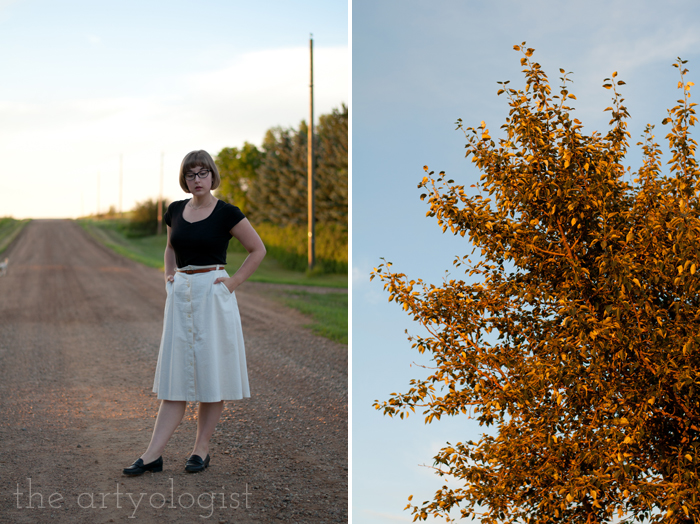 Crossing Over to the Solid Separates Side, the artyologist, tree at sunset, cream coloured cotton skirt