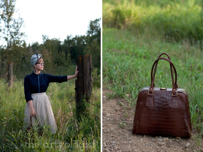 Modern Girl Goes Vintage, the artyologist, brown leather purse