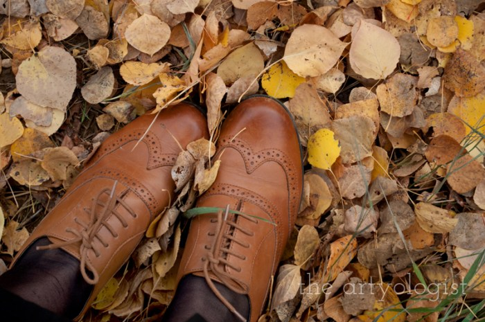 An Outfit For A Rather Windblown Autumn Day, the artyologist, brogue shoes-in-leaves