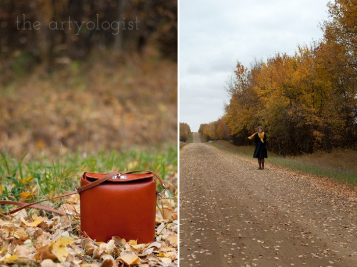 An Outfit For A Rather Windblown Autumn Day, the artyologist, cognac leather crossbody purse