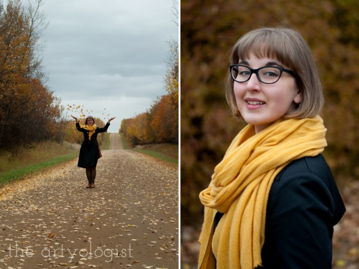 An Outfit For A Rather Windblown Autumn Day, the artyologist, mustard yellow scarf and autumn hued outfit
