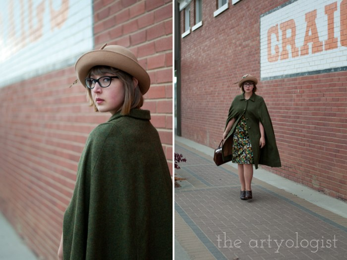 city slicker, the artyologist, green wool cape
