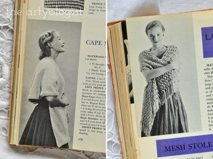 Vintage McCall's Treasury of Needlecraft, evening shawls, The Artyologist
