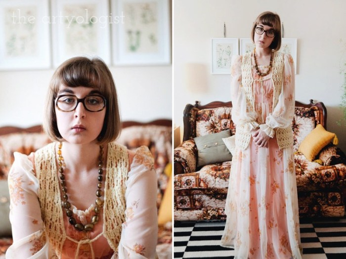 Time Travels (And a Very 1970's Sofa) the artyologist, vintage 70's dress