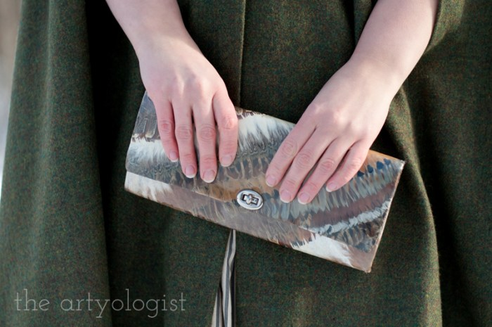 feather and plastic purse, the artyologist