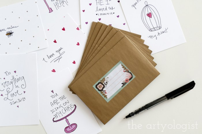scattered valentines cards, the artyologist