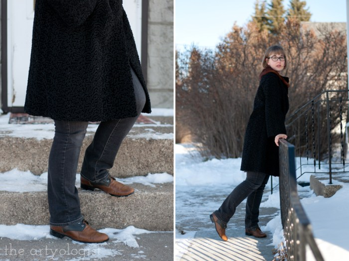 Vintage Modern Mix: Astra Fur & Denim, the artyologist, boots and jeans