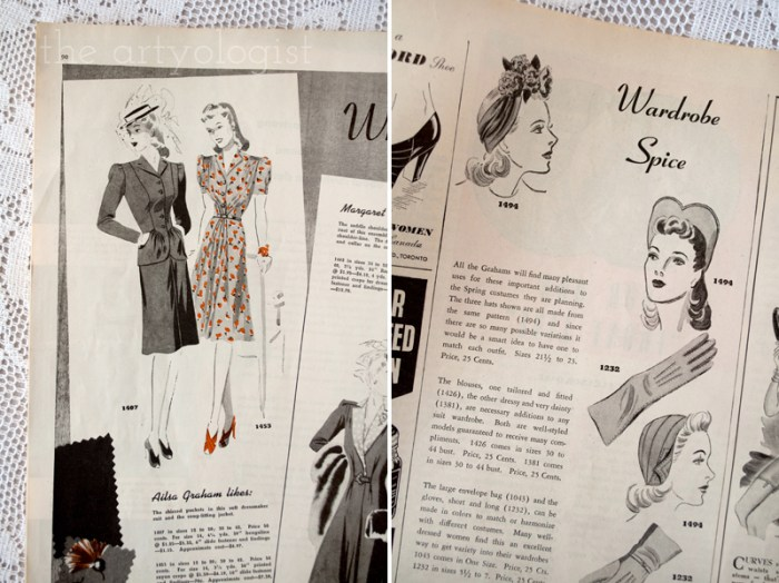wardrobe spice, canadian home journal 1941, butterick 1407 and 1453, the artyologist