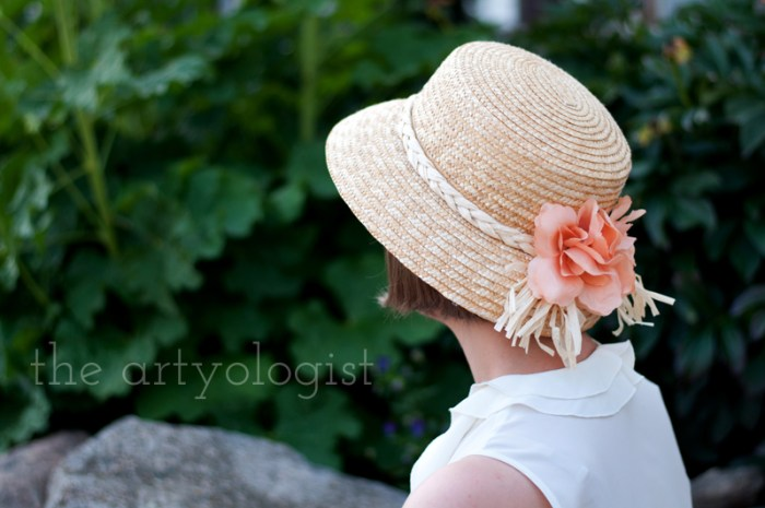 peach hat detail, the artyologist