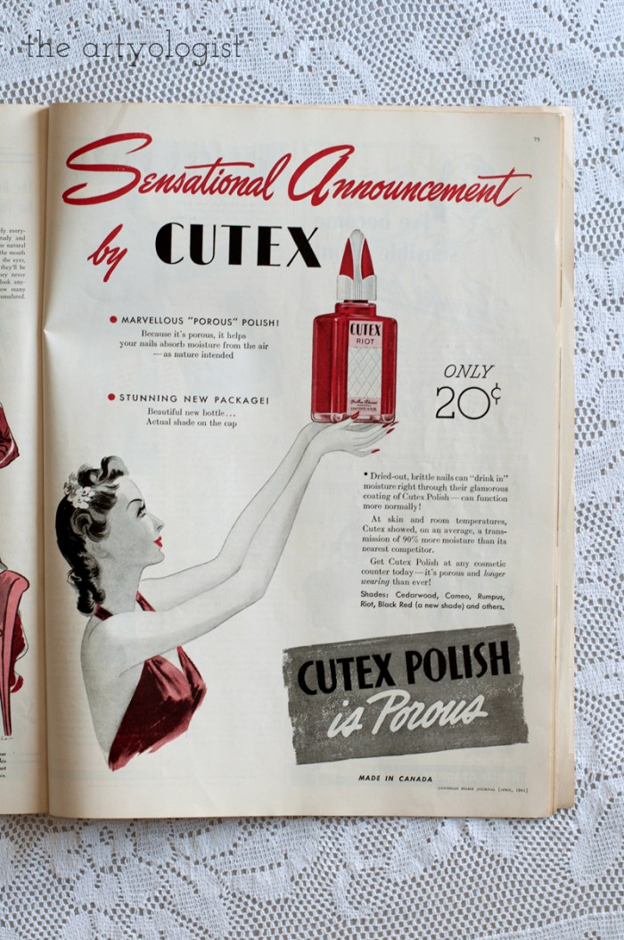 Vintage 1941 Cutex ad