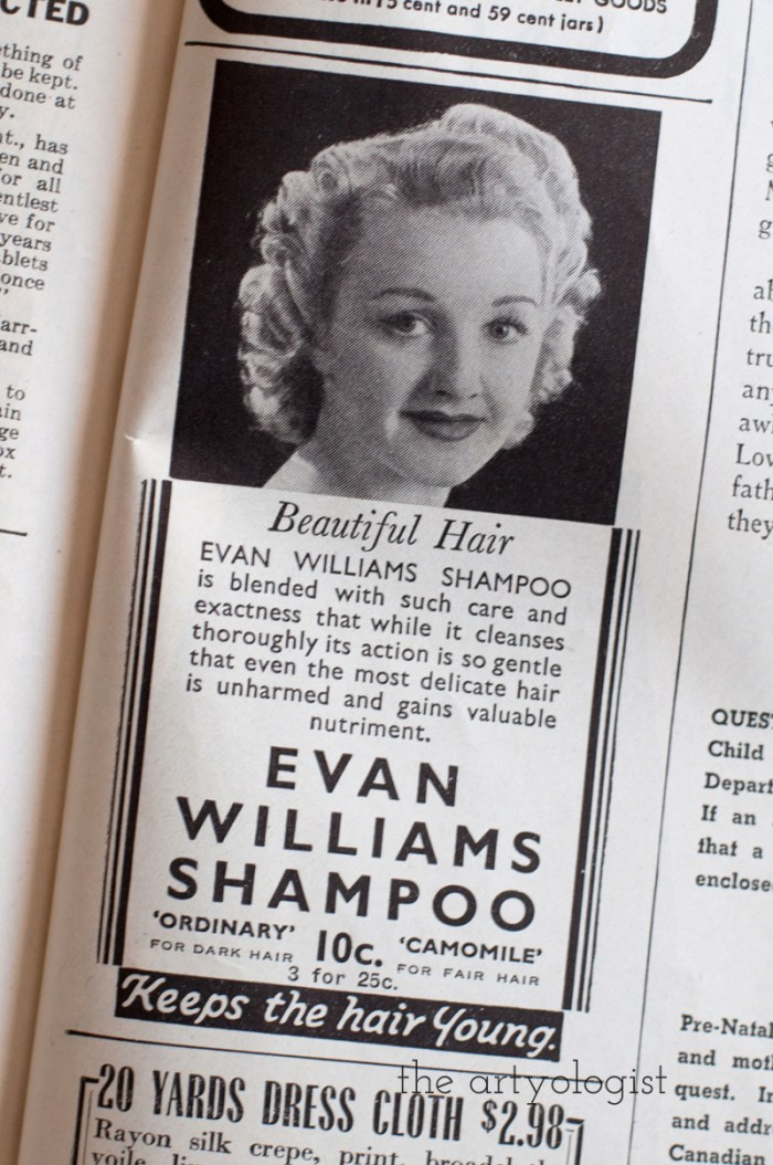Vintage 1941 Evan Willams Shampoo ad