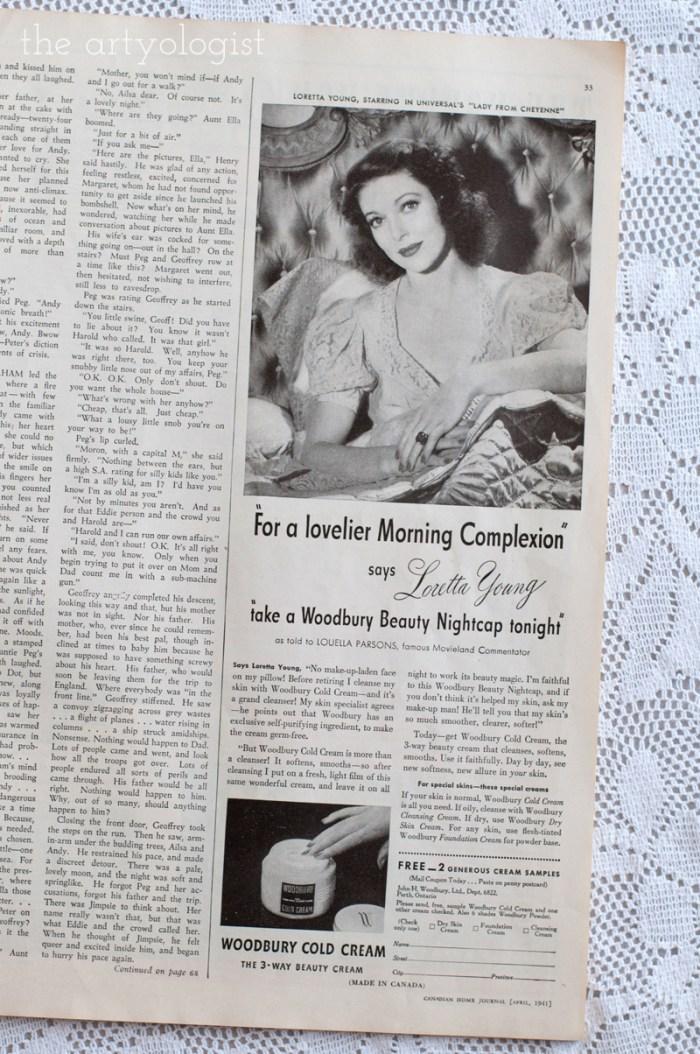 Vintage 1941 Woodbury Loretta Young ad