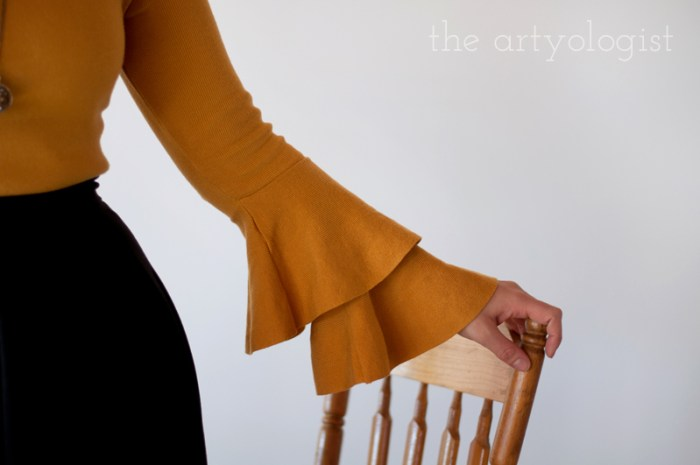 mustard sweater sleeve