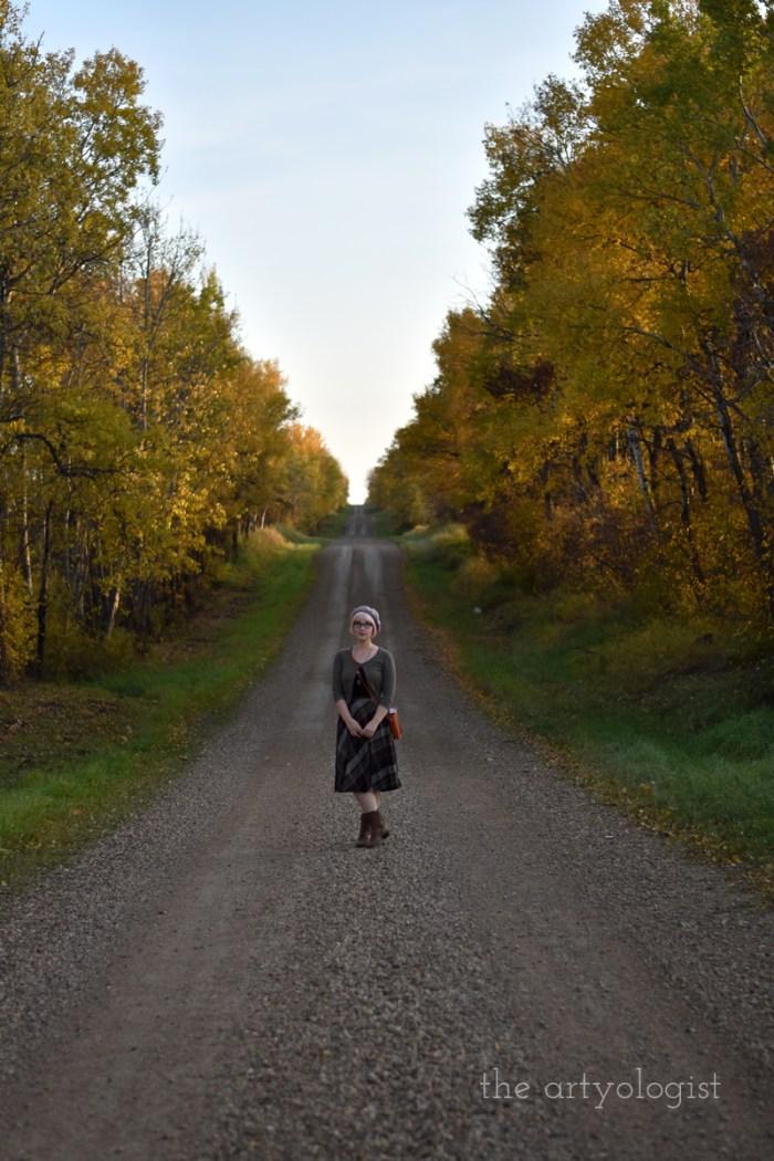 walking down a country fall lane