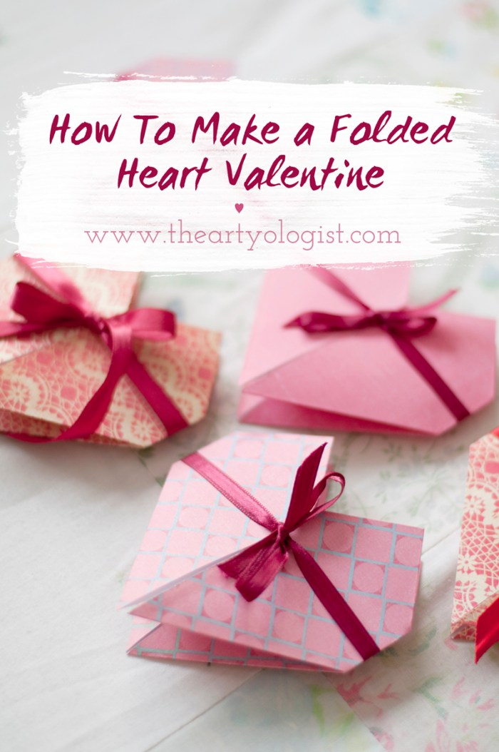 how to make a folded heart valentine card, the artyologist