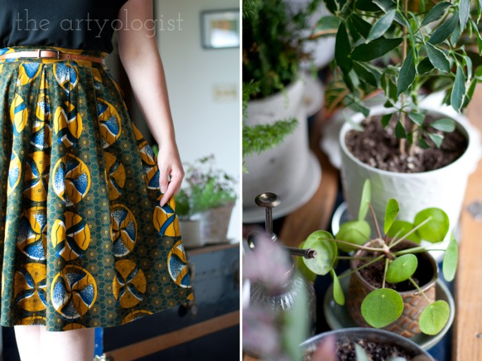 at home outfit details and houseplants