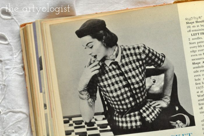 fitted cardigan with a checkerboard pattern