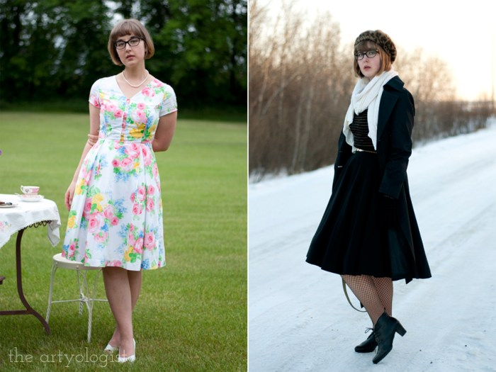 two photos of different vintage styled outfits