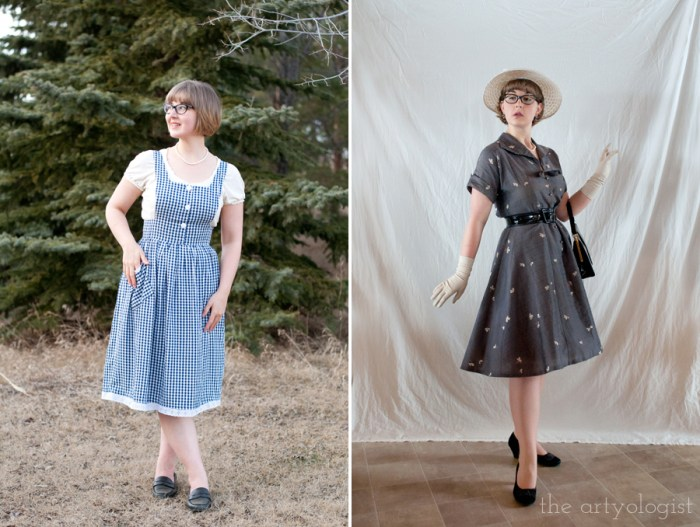 wearing two vintage looks: a gingham pinafore with a peasant style blouse, and a Dior New Look 1950's style dress and accessories